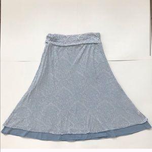 Athlete paisley burnout layered light blue skirt